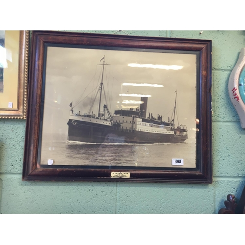 498 - Original framed black and white print of SS Lady Limerick B and I Line Irelan....