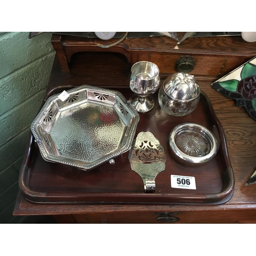 506 - Miscellaneous collection of silver plate, glass and a mahogany tray....