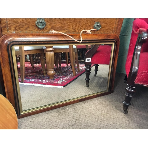 507 - Victorian walnut overmantle mirror....