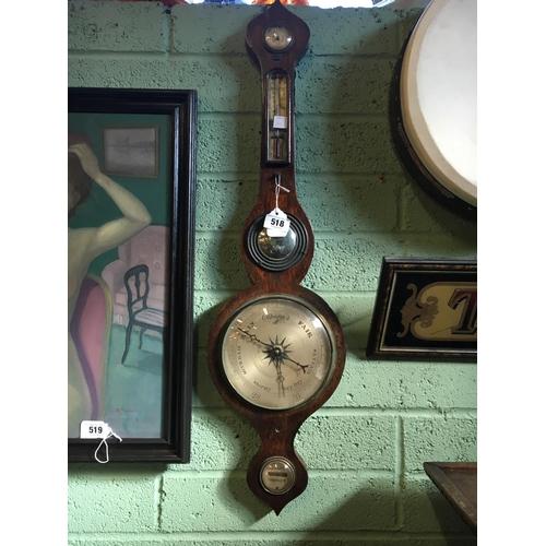 518 - C19th. Rosewood banjo barometer....