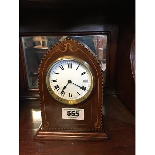 555 - Edwardian inlaid mahogany mantle clock....