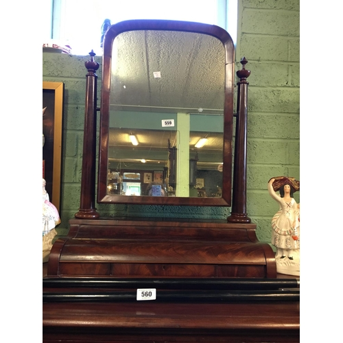 559 - Victorian mahogany three drawer dressing mirror....