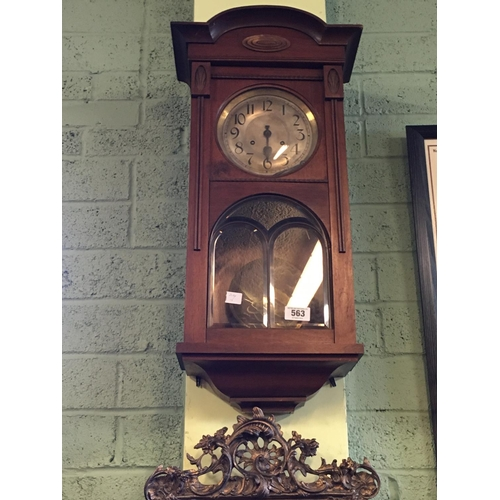 563 - Edwardian mahogany wall clock with silver dial....