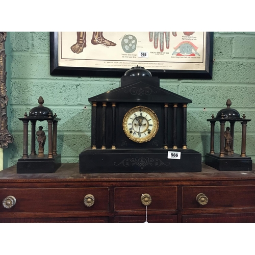 566 - C19th. Slate and brass three piece clock garniture set....