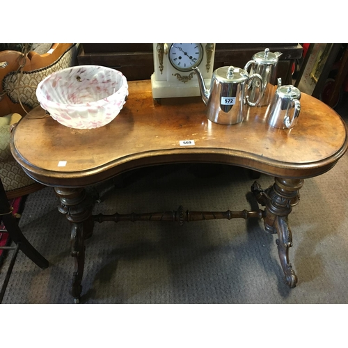 569 - Victorian walnut kidney shaped centre table....