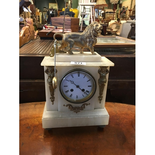 571 - Victorian onyx and brass mantle clock....