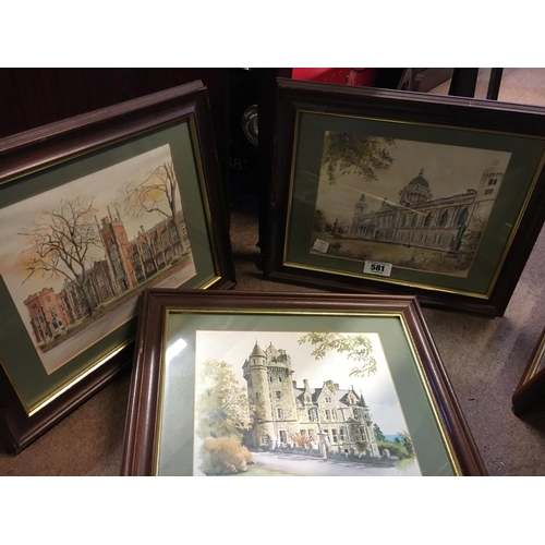 581 - Set of three framed watercolours of Belfast buildings by Anthony Morgan....