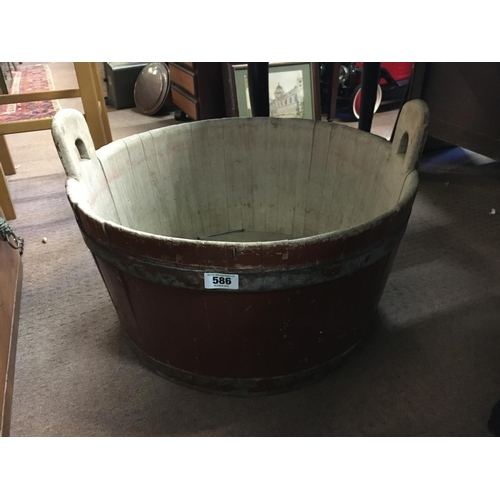 586 - C19th. Oak Wash tub with metal straps....