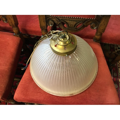 587 - 1930's glass and brass hanging lamp....