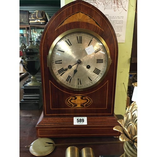 589 - Victorian mahogany inlaid mantle clock with silver dial....