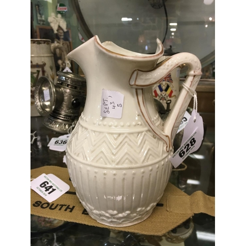 628 - First period Belleek parian ware china jug with handle in the form of a harp....