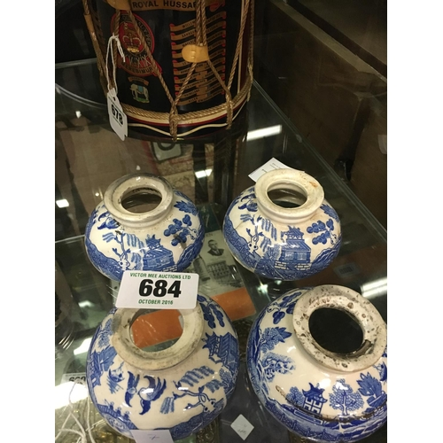 684 - Set of four 19th. C. blue and white ceramic lampshades...