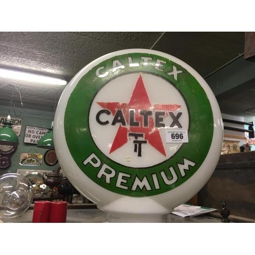 696 - CALTEX T glass petrol globe....