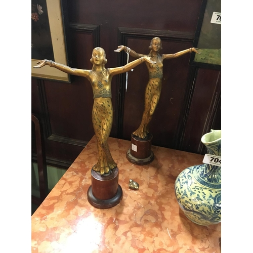 705 - Pair of Art Deco gilded showgirls....