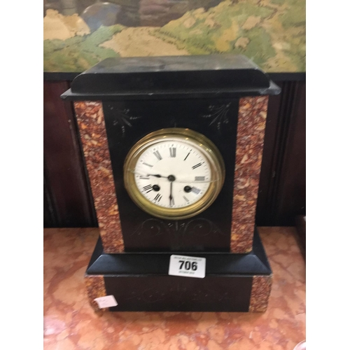 706 - Victorian slate and marble mantle clock....
