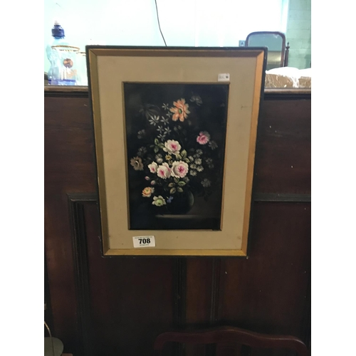 708 - Pair of framed painted porcelain panels...