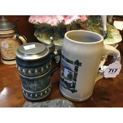 717 - German beer stein Gerz and a one litre beer stein....