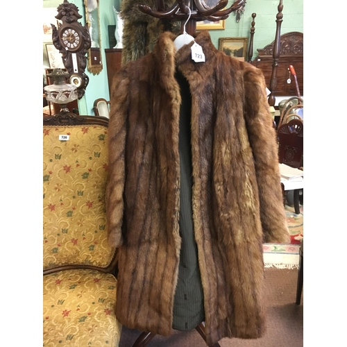 723 - Ladies Brown fur coat....