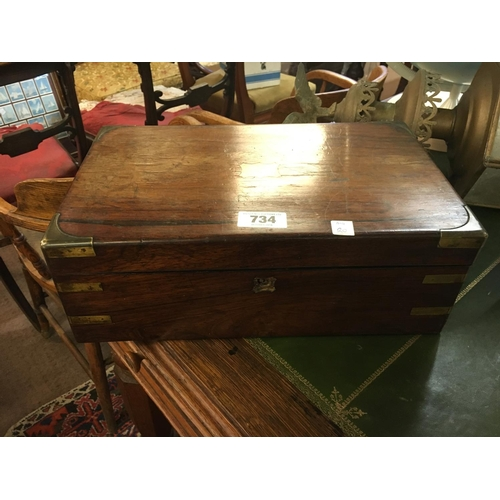 734 - Victorian rosewood brass bound writing box....