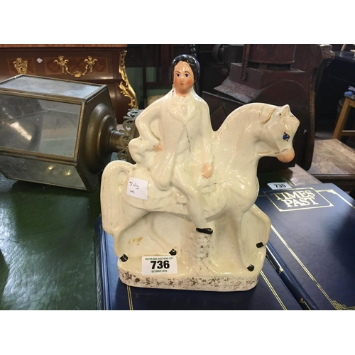 736 - Victorian Staffordshire figure of horse and rider....