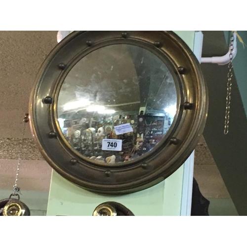 740 - Circular brass convex mirror....