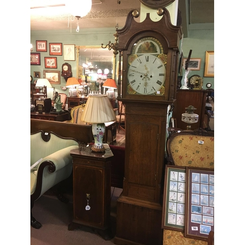 741 - C19th. Oak longcase clock with painted arch dial....