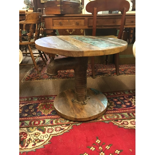 749 - Retro occasional table surmounted with metal tap and circular wooden top and base....