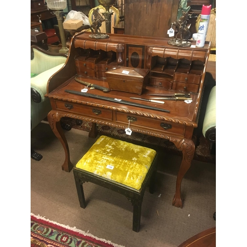 759 - Good quality mahogany desk on claw and ball feet....