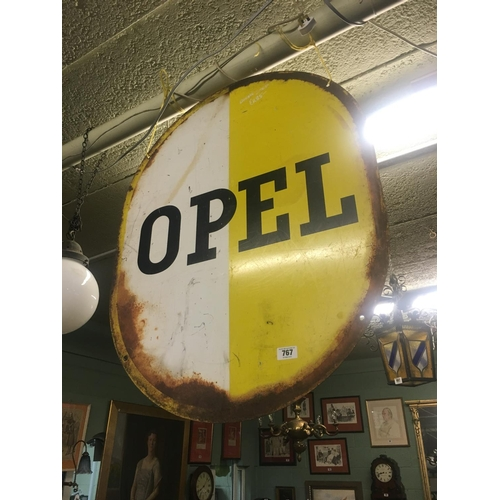 767 - Original double sided OPEL sign....