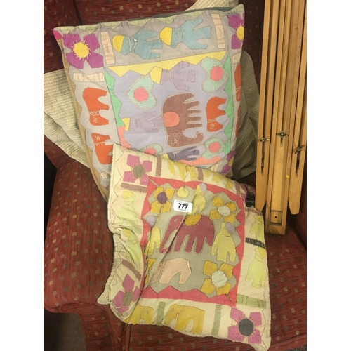 777 - Two 1960's ASSAFO FANTE hand stitched cushions...