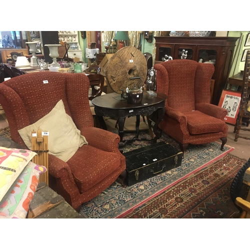 779 - Pair of upholstered wing back chairs....