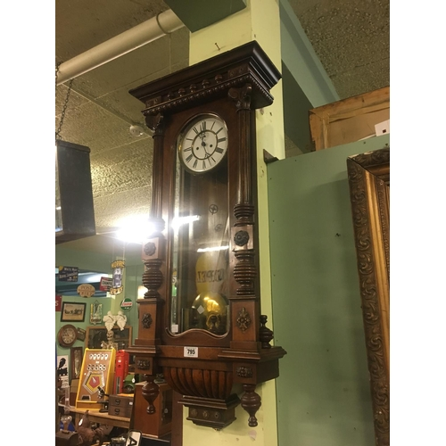 795 - Victorian mahogany double weighted Vienna wall clock....