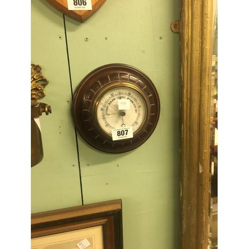 807 - Edwardian mahogany wheel barometer....