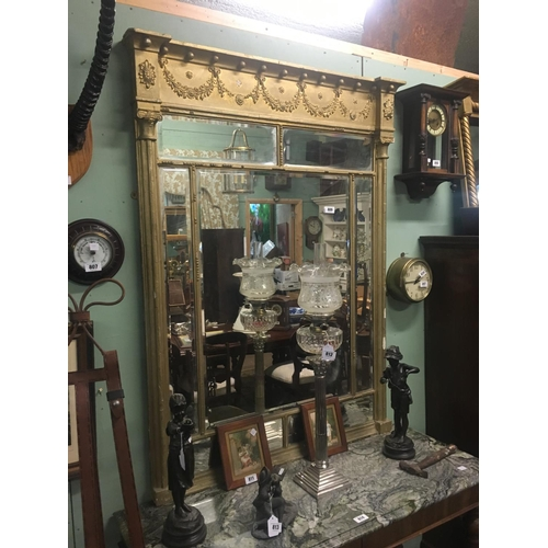 809 - Victorian gilt overmantle. (150cmH x 107cmW)...