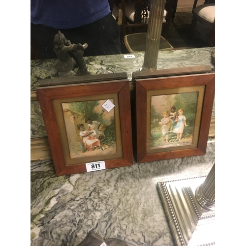 811 - Pair of C19th. Framed coloured prints....