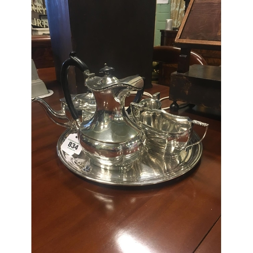 834 - Silver plate tray with tea pot, coffee pot, creamer and sugar bowl....
