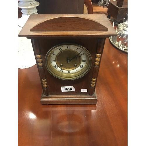 836 - Edwardian oak mantle clock....
