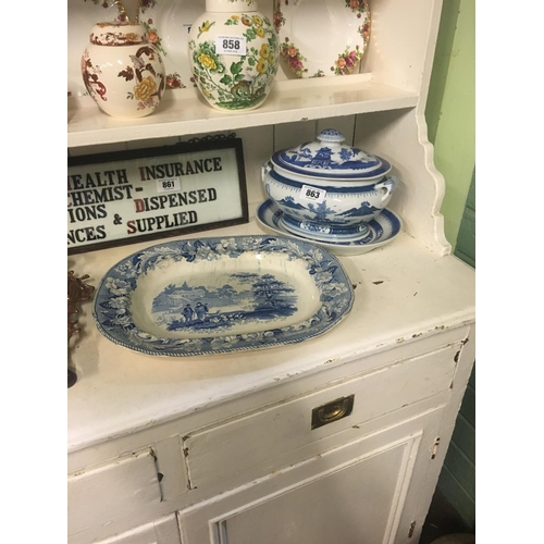 863 - C19th. blue and white tureen and joint dish....