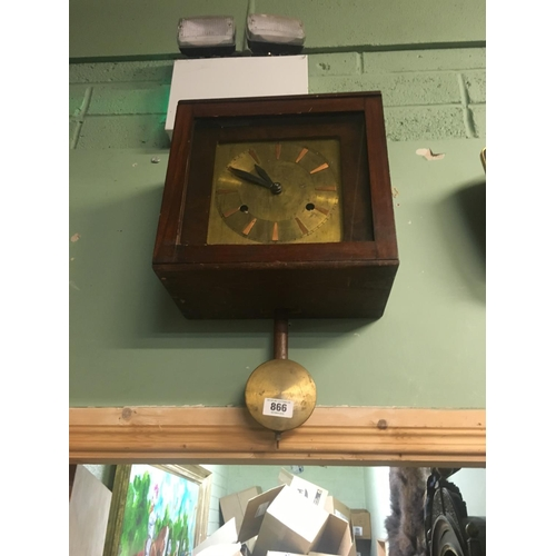 866 - 1930's wall clock with brass diall....