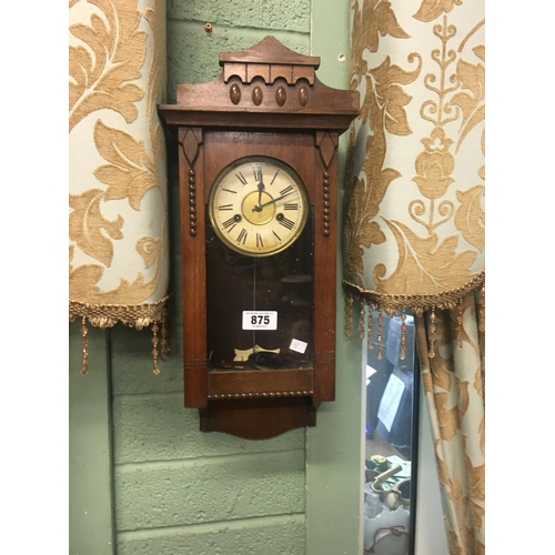875 - Edwardian walnut wall clock....