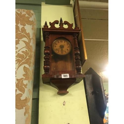 885 - Victorian mahogany wall clock....