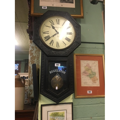 891 - 1890's Ebonised Regulator wall clock....