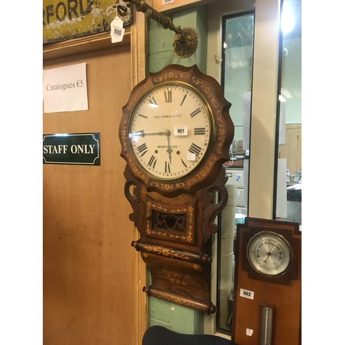 901 - Good quality Victorian inlaid drop dial clock....