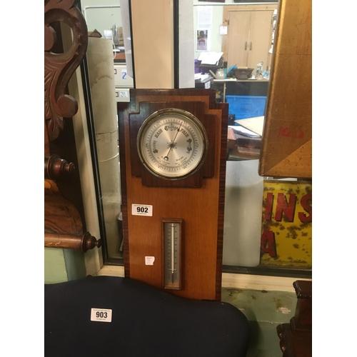 902 - Art Deco rosewood barometer....