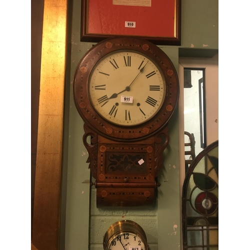 911 - Victorian inlaid drop dial clock....