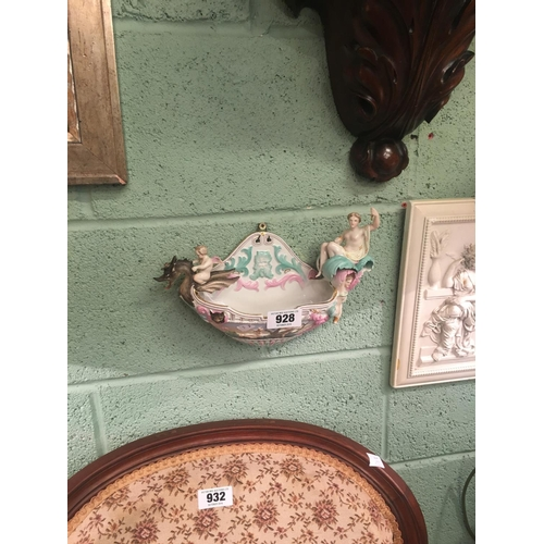 928 - C19th. German ceramic wall hangin surmounted by nymphs and sea horses....
