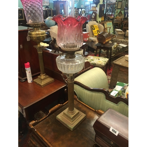 935 - Victorian corinthian column brass lamp with cut glass bowl and ruby shade....