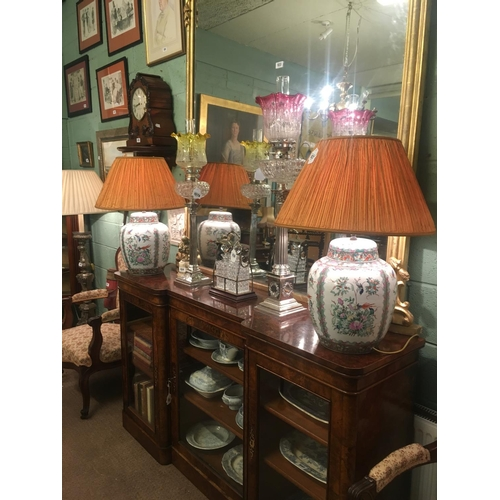 937 - Pair of Chinese table lamps with pleated shades. (69cmH)....