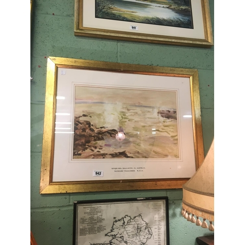 942 - Watercolour ROUGH SEAS Ballintoy Co Antrim signed by Richard Faulkner RUA....