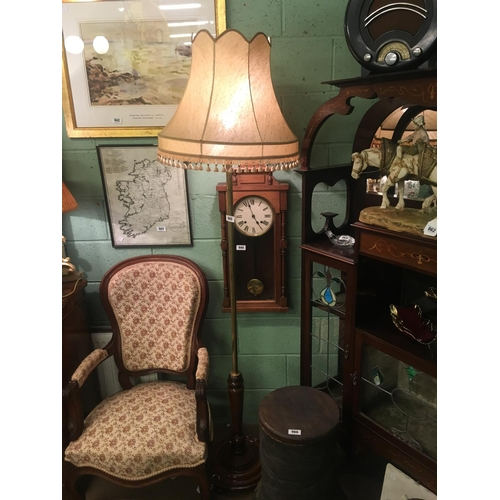 945 - Good Victorian mahogany and brass standard lamp with original cloth shade....